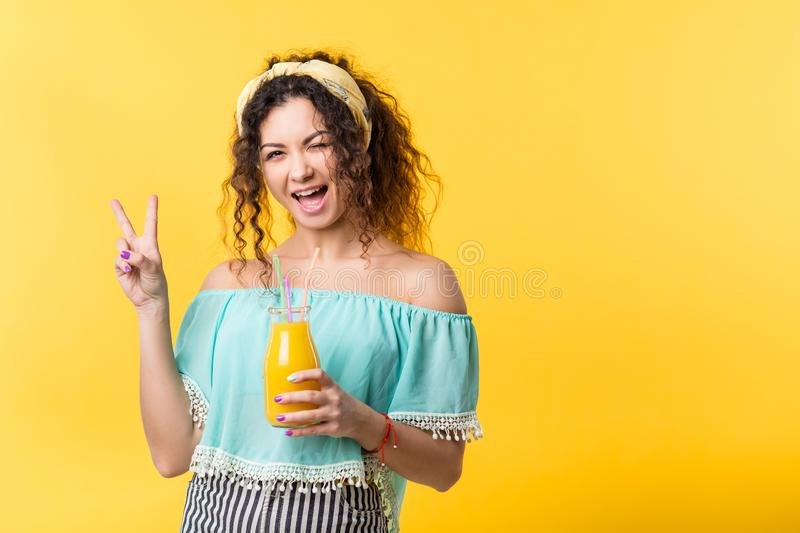 Happy woman fresh smoothie healthy organic detox stock photography