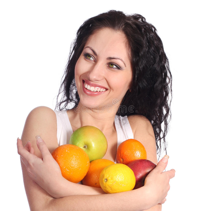 Download Happy woman with fruits stock photo. Image of apple, happiness - 18630750