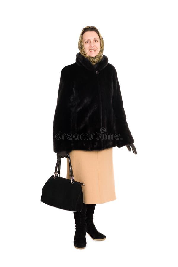 Happy Woman In Fur Coat Of Mink. Royalty Free Stock Image