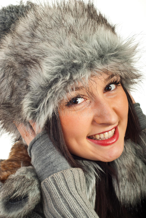 Download Happy woman in fur hat stock photo. Image of smile, knit - 22503856