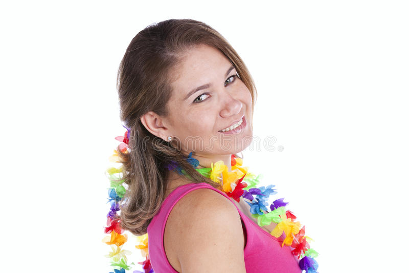 Happy woman with a Garland royalty free stock image