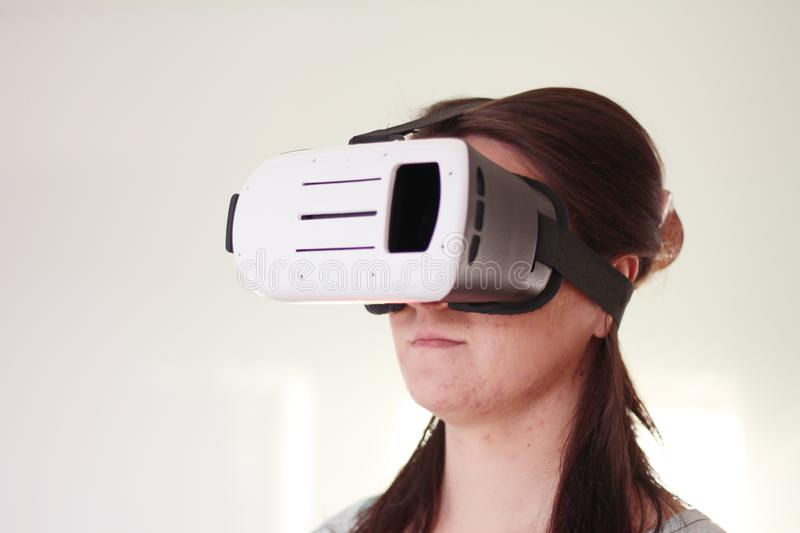 Double Exposure Of Happy Woman Playing VR-headset Glasses