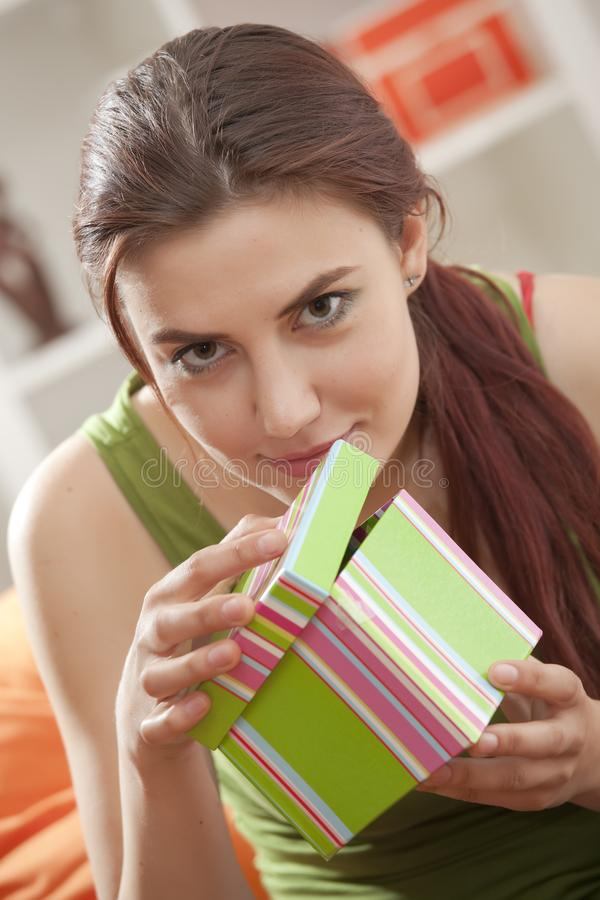 Download Happy woman with gift box stock image. Image of happiness - 19976789