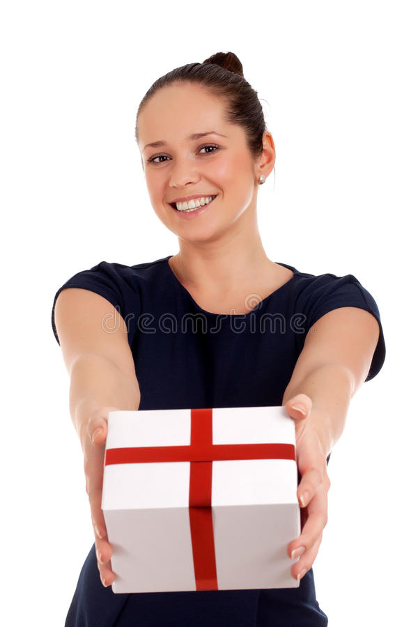 Download Happy woman with gift box stock image. Image of attractive - 30335673
