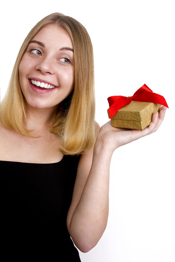 Happy woman with gift royalty free stock photo