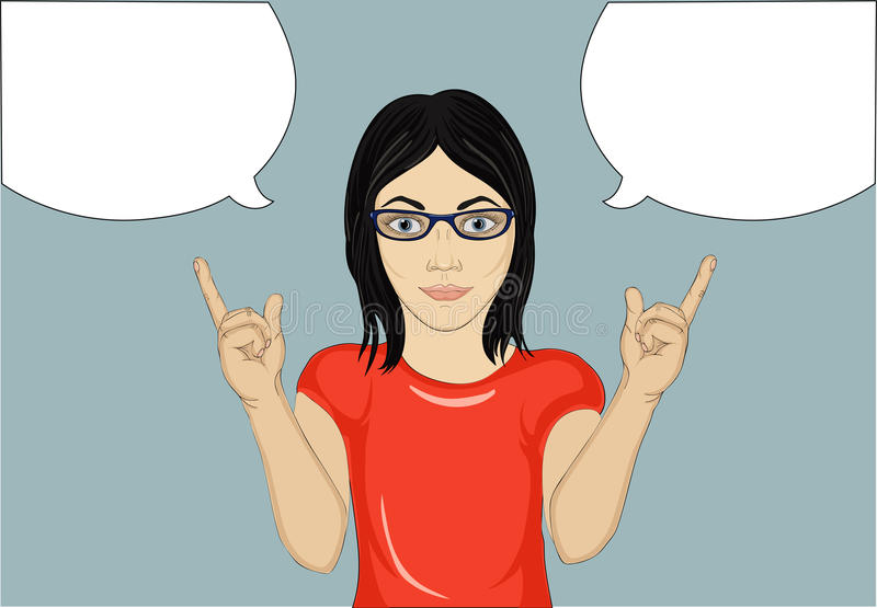 Happy woman with glasses a new idea and gestures index finger up vector illustration
