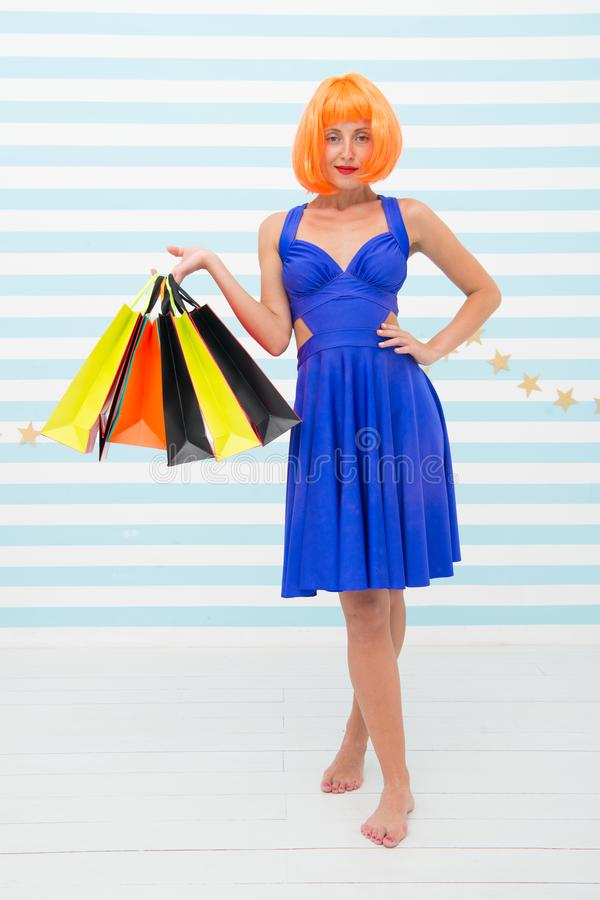 Happy woman go shopping. Last preparations. big sale in mall. Crazy girl with shopping bags. Fashion. Black Friday sales stock photos