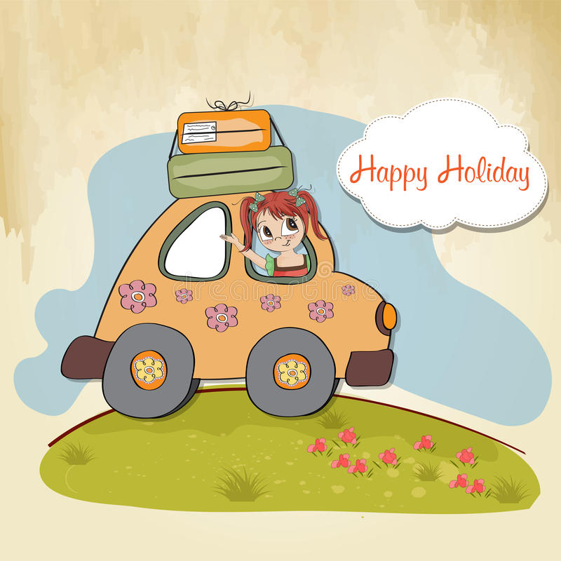 Download Happy Woman Going On Holiday Stock Vector - Illustration: 24616907
