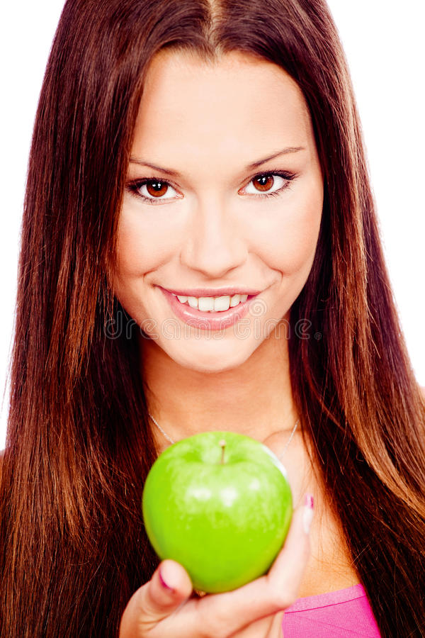 Download Happy Woman With Green Apple Stock Images - Image: 28939124