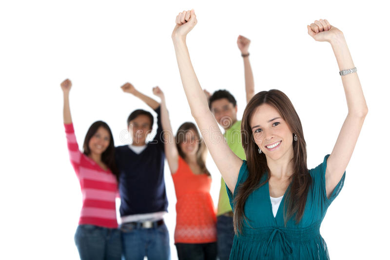 Download Happy woman with a group stock photo. Image of friendship - 15519720