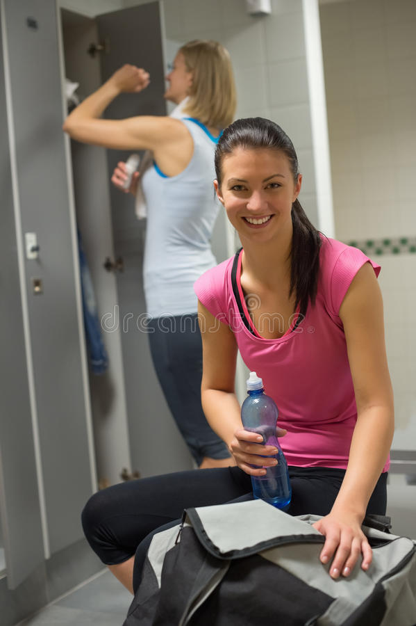 Happy woman at gym s locker room stock photo image