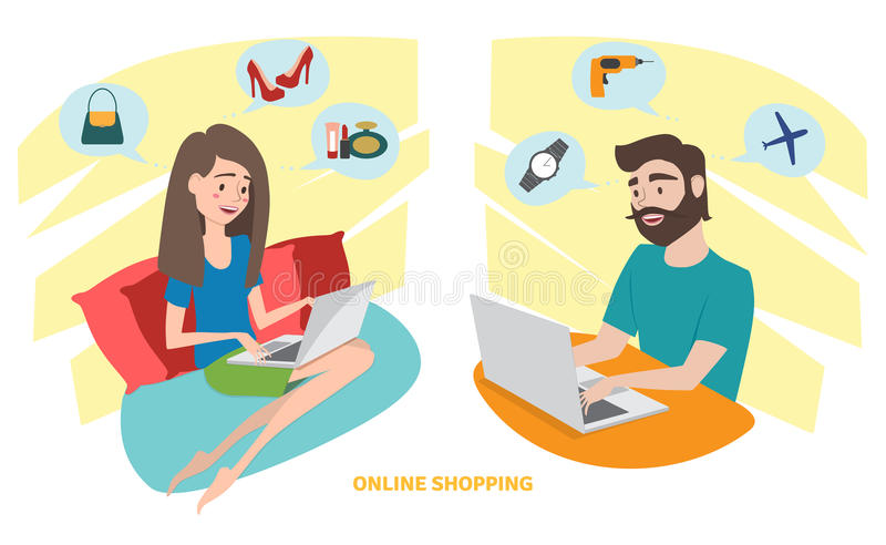 Happy woman and happy man doing online shopping at home vector illustration