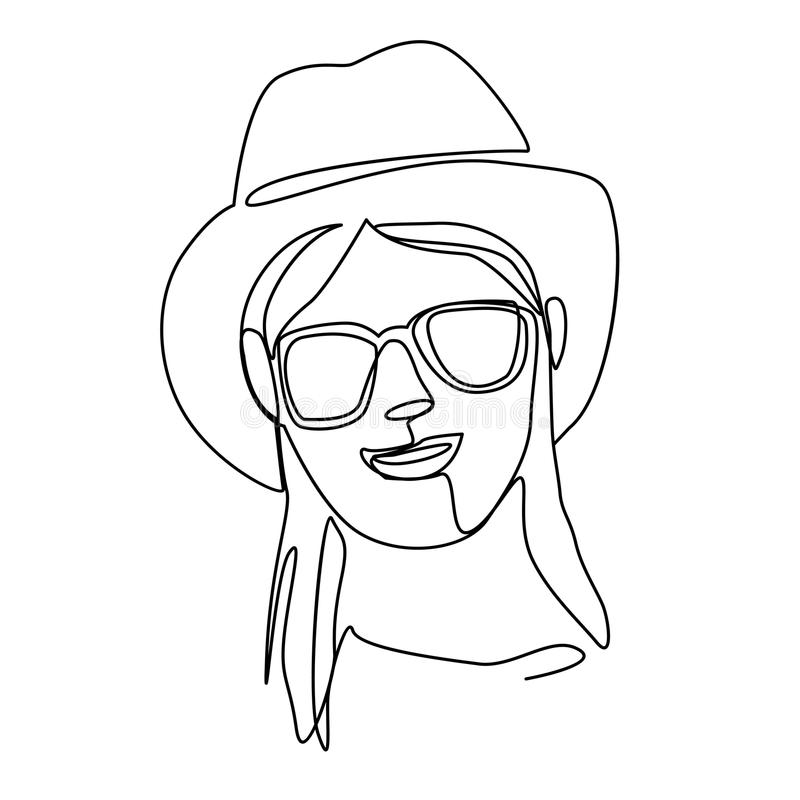 Happy Woman in Hat and Sunglasses Smiling One Line Art Portrait. Joyful Female Facial Expression. Hand Drawn Woman stock illustration