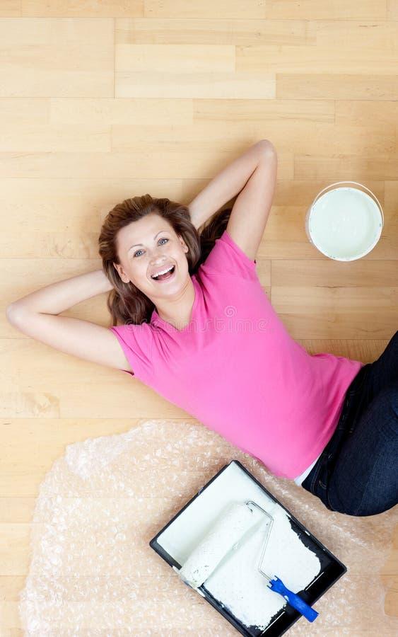 Download Happy woman having a break stock photo. Image of female - 14487298