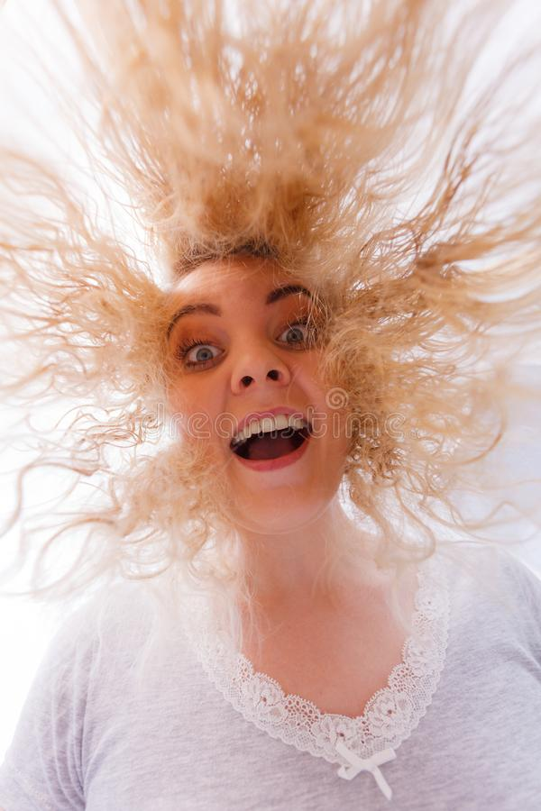 Woman with wet blonde hair royalty free stock photography