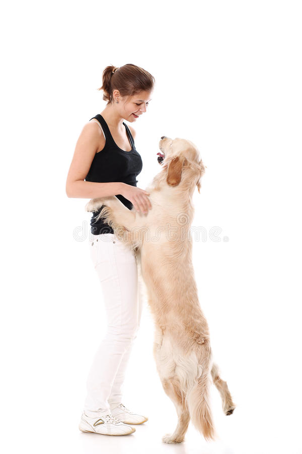 Happy woman and her beautiful dog royalty free stock photography