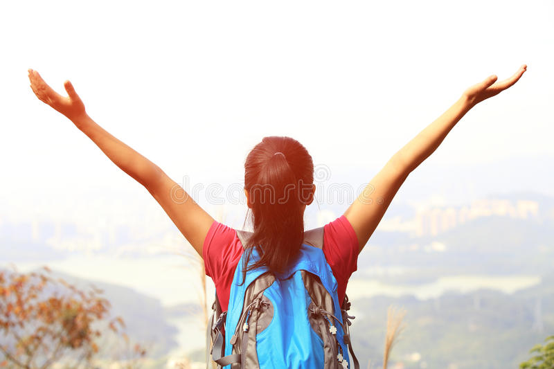 Happy woman hiker stock image