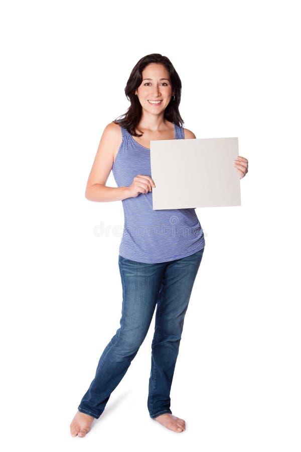 Happy woman hoding whiteboard royalty free stock image