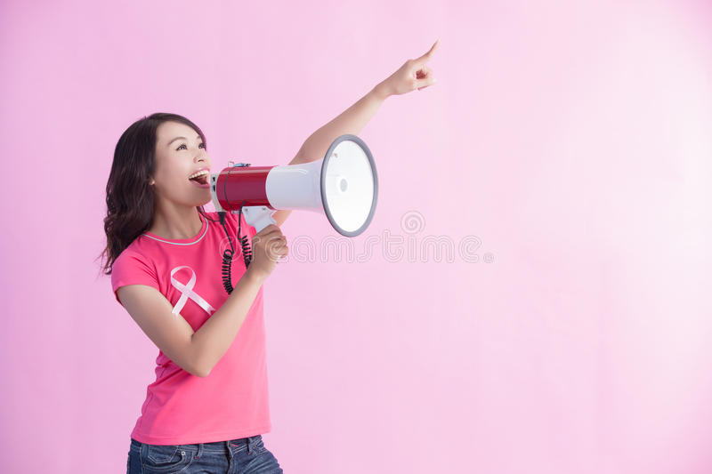 Happy woman hold microphone stock images