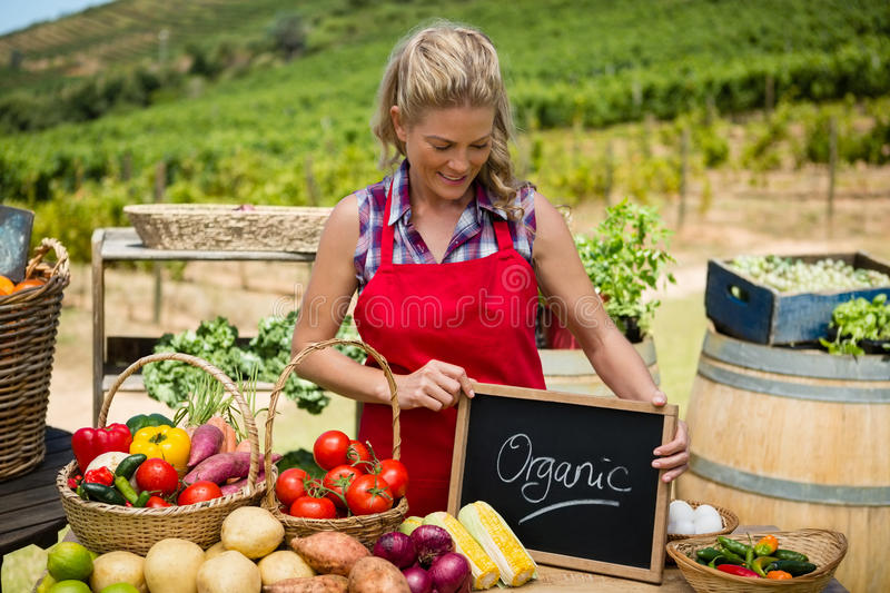 Happy woman holding slate with text at vegetable stall royalty free stock photo