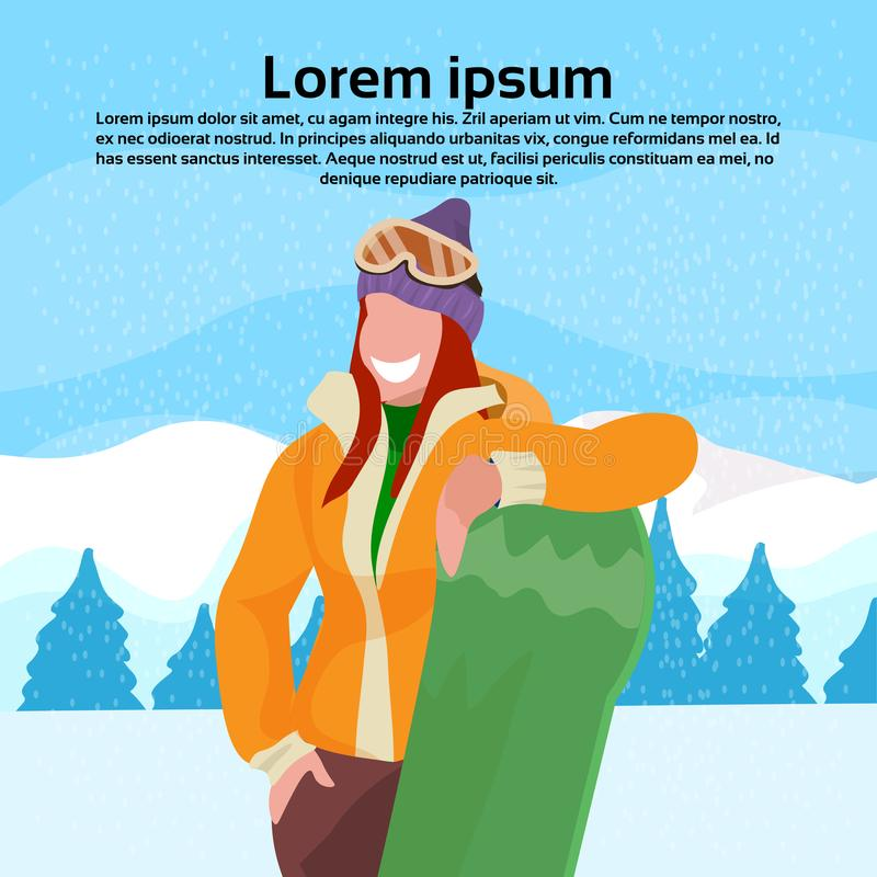 Happy woman holding snowboard girl winter vacation activity concept fir tree snowy mountain landscape female cartoon. Character portrait flat copy space vector royalty free illustration