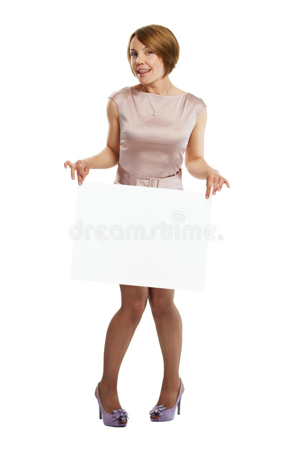 Download Happy Woman Holding White Board Stock Image - Image: 19625839