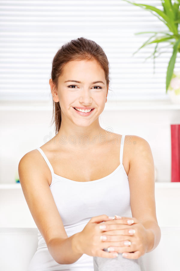 Download Happy woman at home stock image. Image of cute, pretty - 27571723