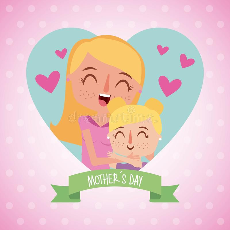 Happy woman hugging little girl mother day vector illustration