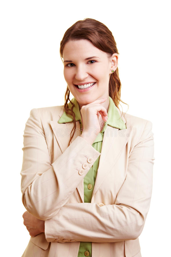 Happy woman at job application stock images