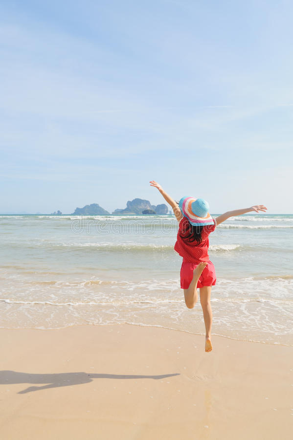 Download Happy Woman Jump On The Beach In Krabi Thailand Stock Image - Image: 26002507