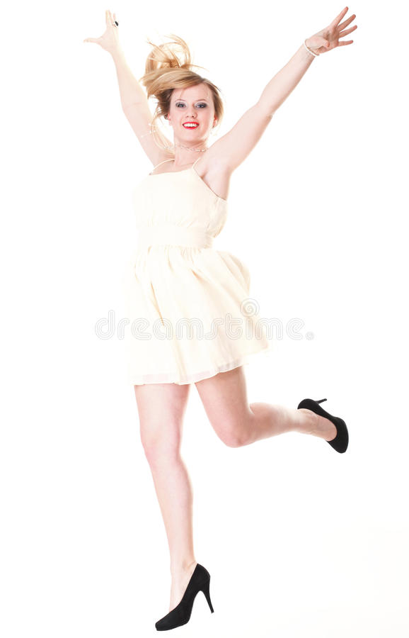 Download Happy Woman Jumping With Arms Up Isolated Stock Image - Image of blonde, young: 24389575