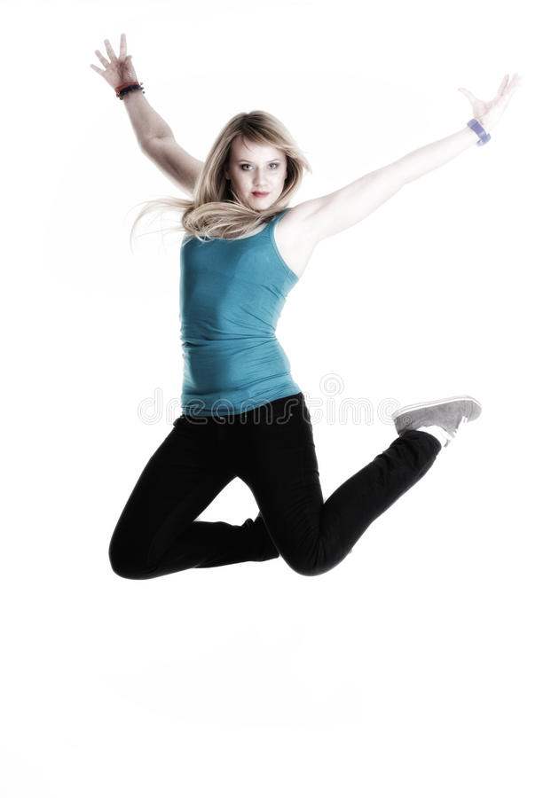Happy Woman Jumping With Arms Up Isolated Stock Photo