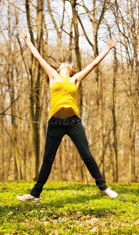 Free Happy Woman Jumping In Nature Stock Photo - 14163240