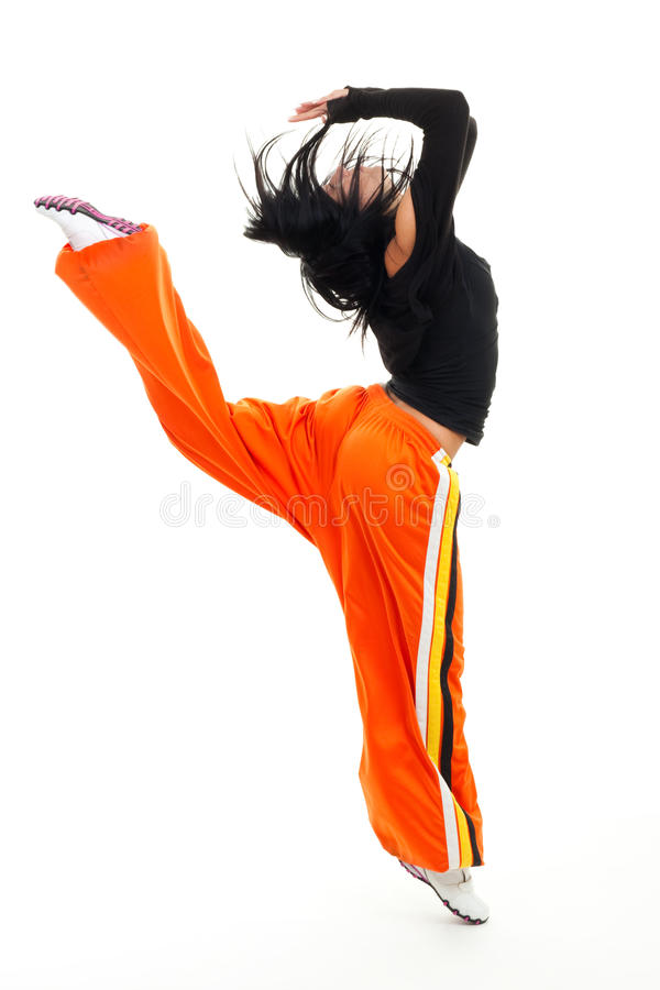 Happy woman jumping and looking up stock photos