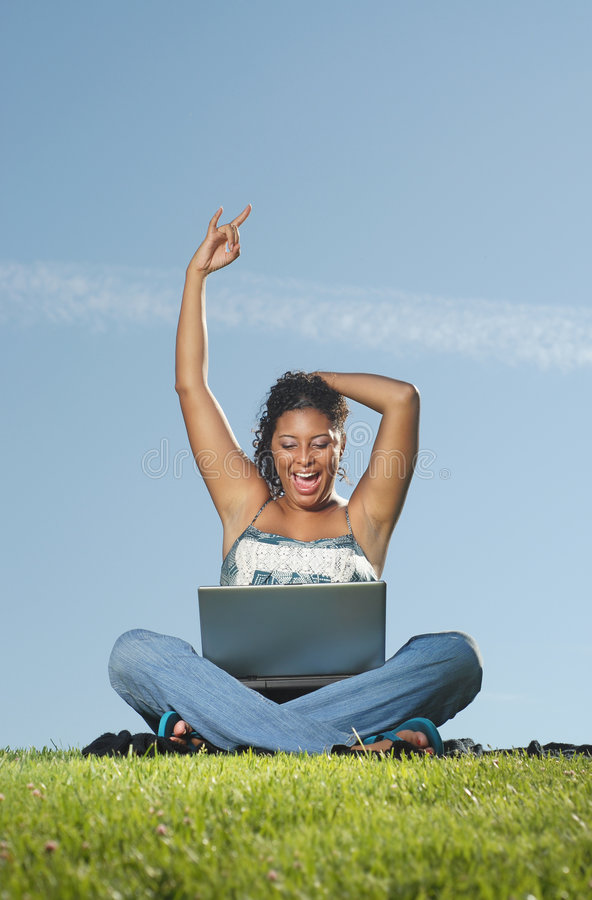 Download Happy woman on laptop stock image. Image of facial, college - 5629067