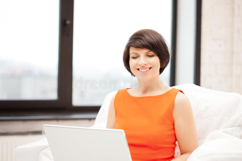 Happy Woman With Laptop Computer Royalty Free Stock Image