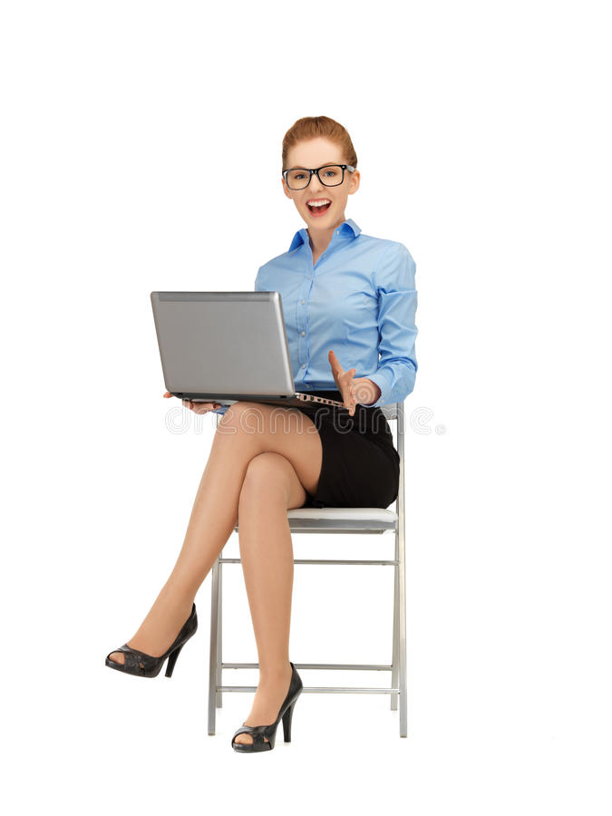 Download Happy Woman With Laptop Computer Stock Photo - Image of corporate, female: 39514506