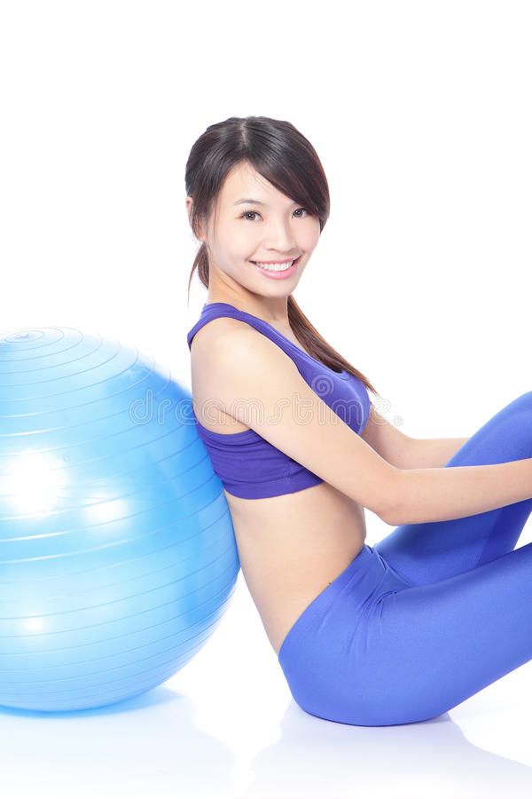 Download Happy Woman Leaning On A Pilates Ball Stock Photo - Image of background, attractive: 28361380