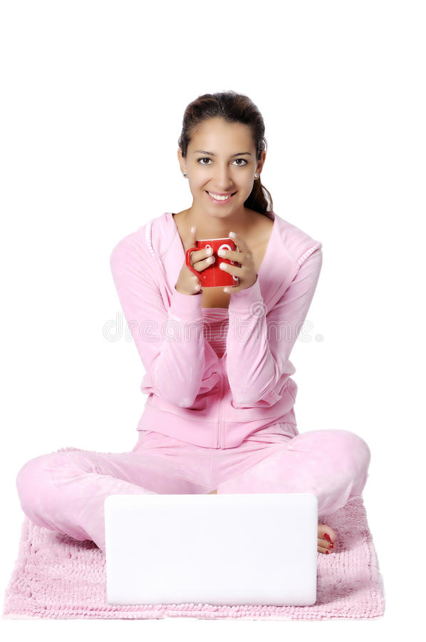 Download Happy Woman Looking Backward With Laptop Stock Photo - Image: 26014290