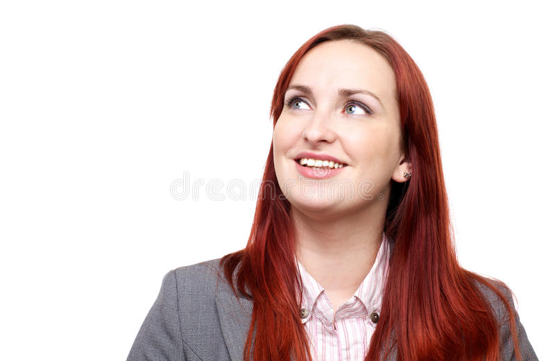 Happy woman, looking up royalty free stock photo