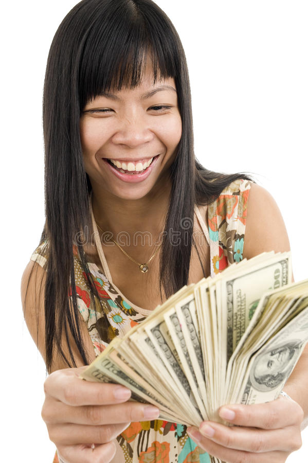 Happy woman with lots of money royalty free stock photos