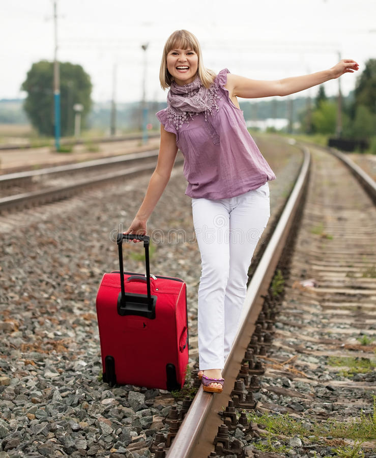 Download Happy woman with luggage stock image. Image of girl, luggage - 20852699