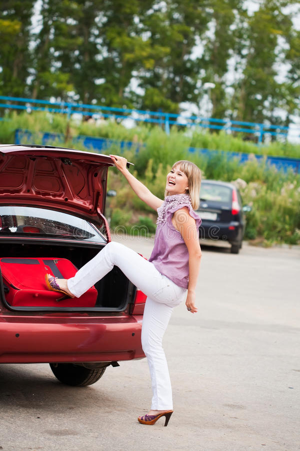 Download Happy Woman With Luggage Stock Photography - Image: 21328942