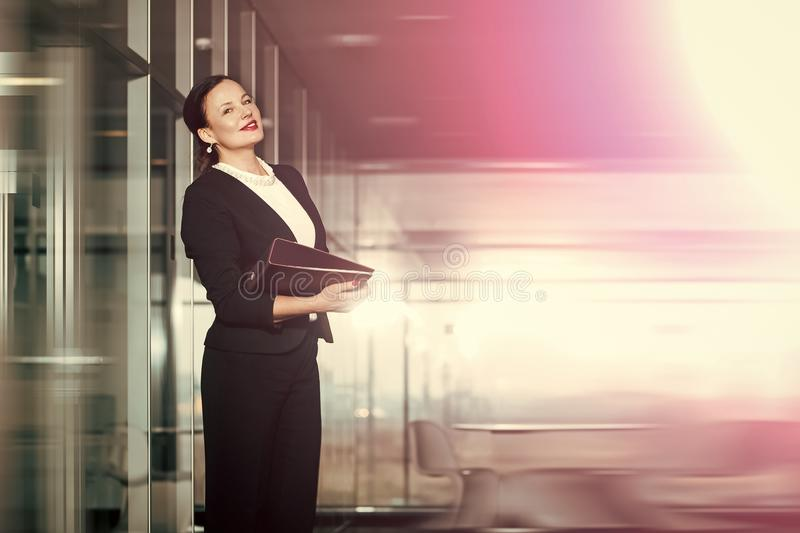 Happy woman. Modern life and agile business. stock photo