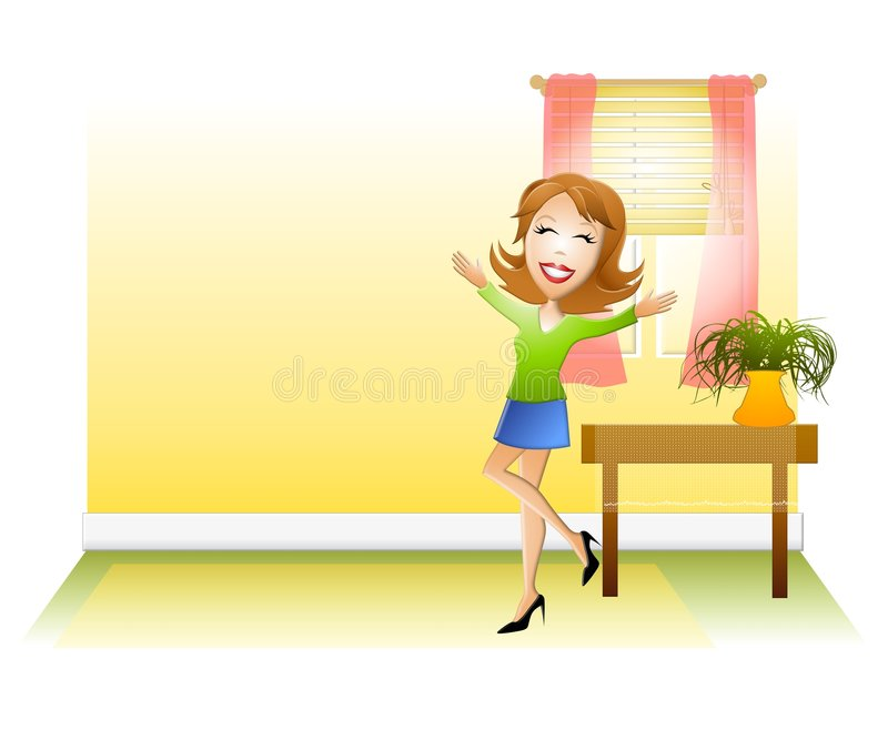 Happy Woman New Home. An illustration featuring a happy woman with arms raised as if happy to be in a new home. Lots of space to the left for text vector illustration
