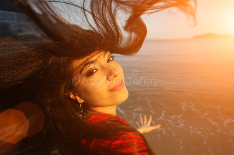 Happy woman ocean hair royalty free stock images