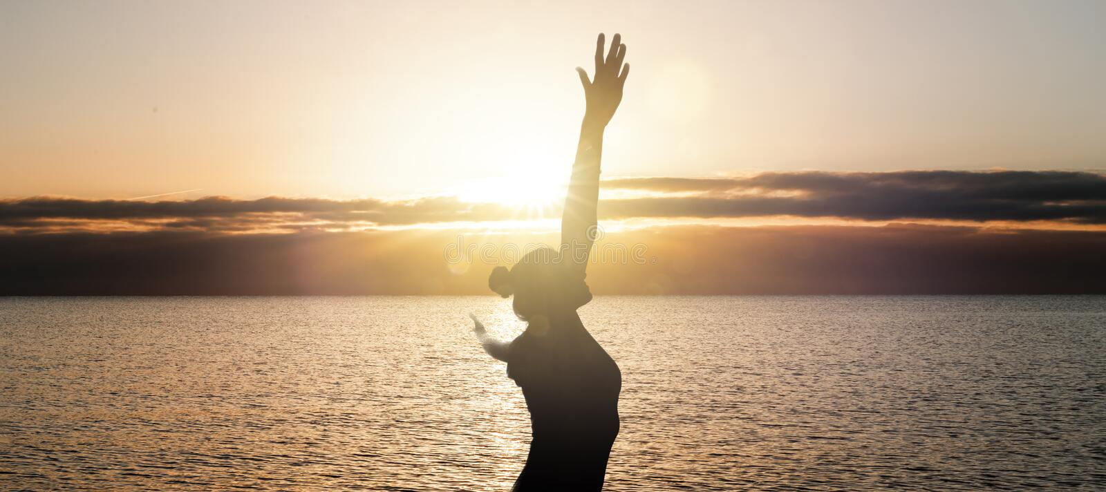 Happy Woman at the Ocean royalty free stock photo