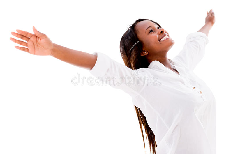 Download Happy woman with open arms stock photo. Image of latinamerican - 32026896