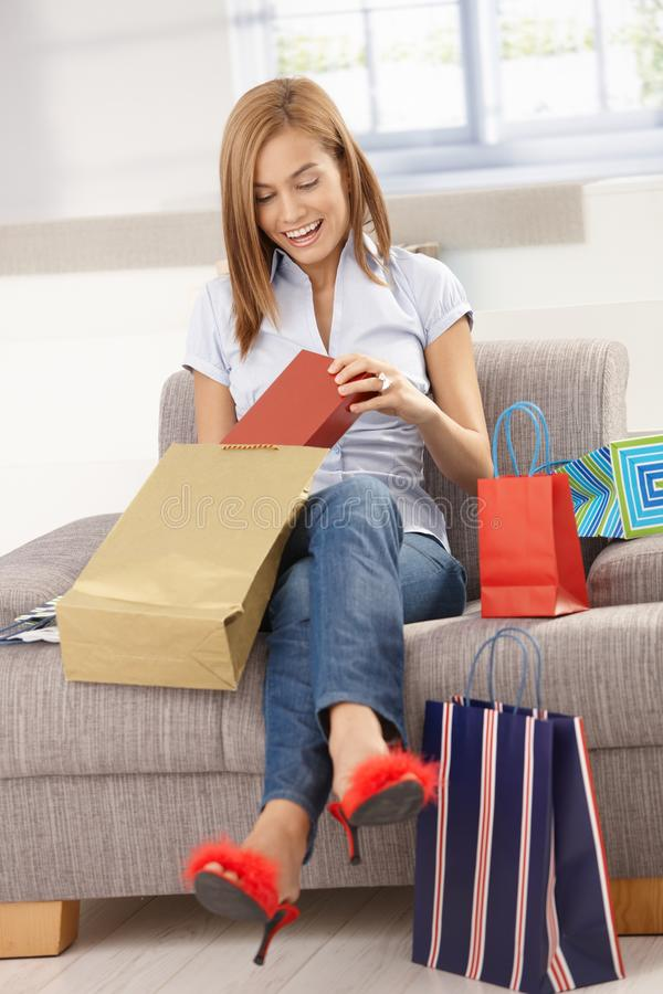 Download Happy Woman Opening Shopping Bags Stock Photo - Image: 18718870