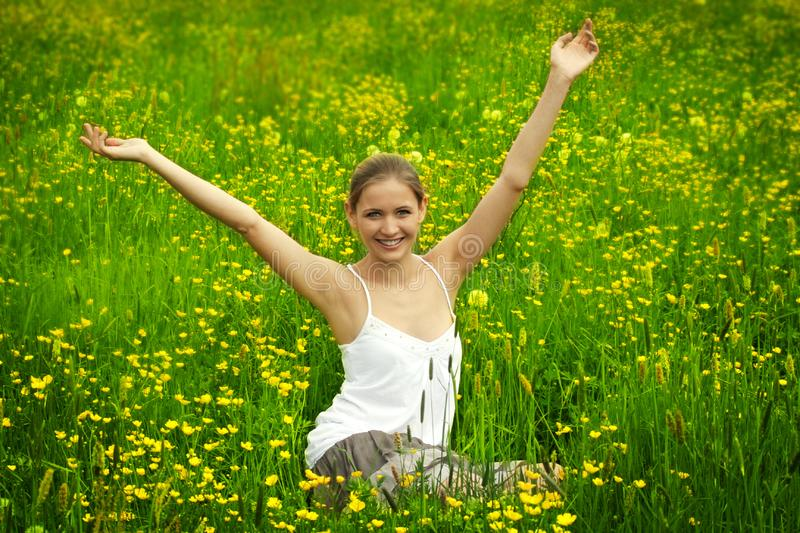 Happy woman outdoor royalty free stock photography
